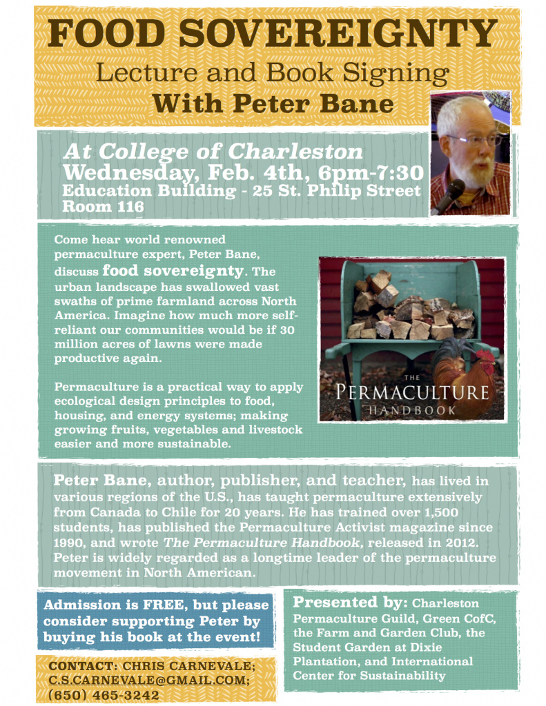 ICS, Inc. collaboration w/Peter Bane, College of Charleston and Charleston Permaculture Guild